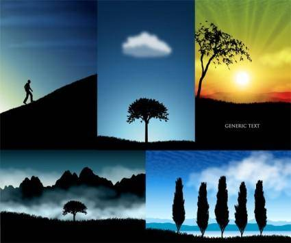 free vector Beautiful scenery silhouette vector