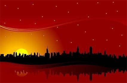 free vector City highrise buildings under the red sunset silhouette vector