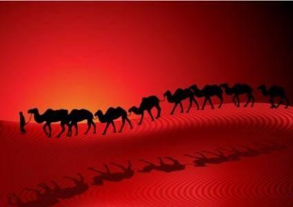 free vector Desert camel silhouette vector