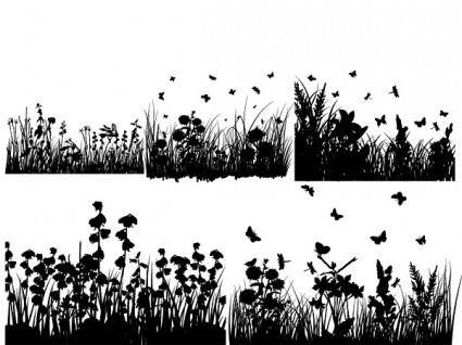 free vector Several grass and butterflies silhouette vector