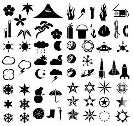 Various silhouette vector elements weather plants technology fire protection 64 elements