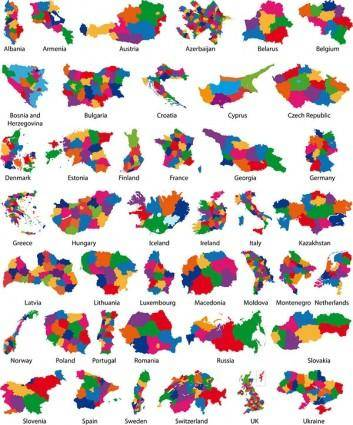 free vector Colorful map silhouette vector 2