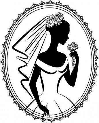 Bride silhouette 05 vector