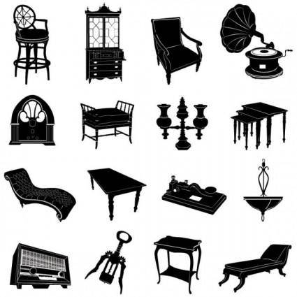 Antique furniture black and white silhouette 01 vector