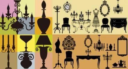 European classical furniture silhouette vector
