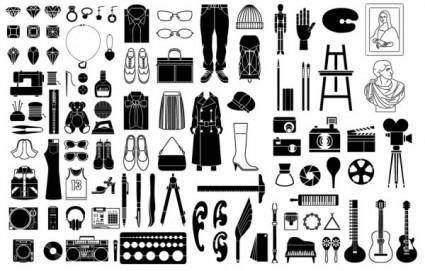 Various elements of vector silhouette or even goods 99 elements