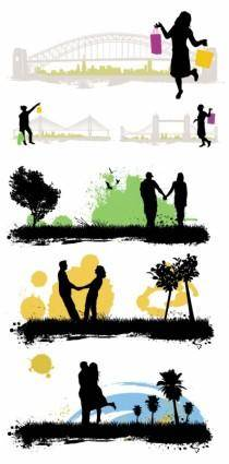 free vector Vector characters buildings scenes silhouette vector 01