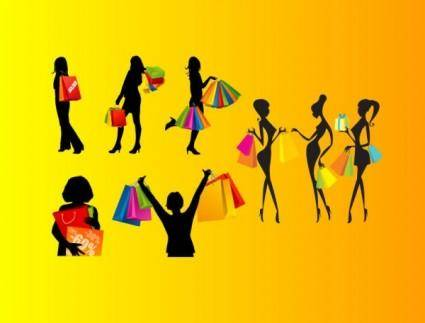 Shopping female silhouette vector