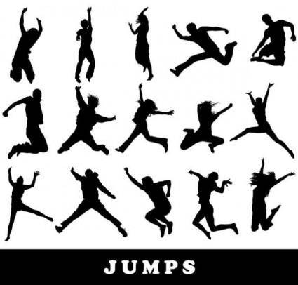 free vector Jumping figure silhouette vector