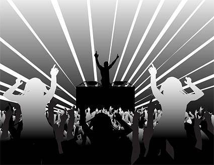 Dj and dancing supertype figure silhouette vector