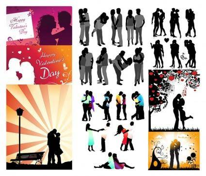 Romantic lovers silhouette vector