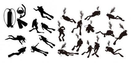 Diver silhouette vector