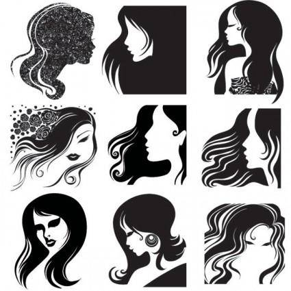 Female head silhouette vector