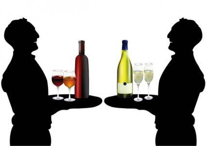 free vector The waiter holding drinks silhouette vector