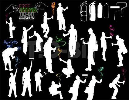 free vector Painting figures silhouette vector