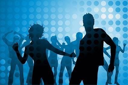Disco dancing silhouette vector character