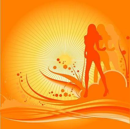 Female dancers silhouette vector with the trend of design elements