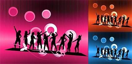 free vector Carnival characters in silhouette vector