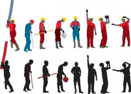 free vector Workers with the silhouette image 03 vector