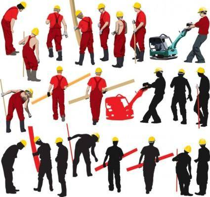 Workers with the silhouette image 04 vector