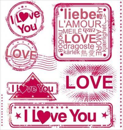 free vector Romantic love stamp 01 vector