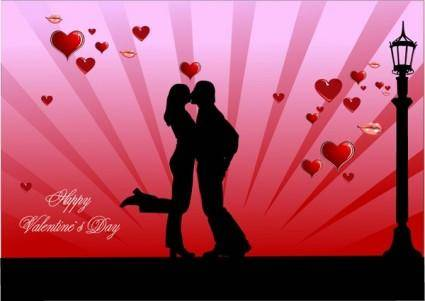 Valentine day couples kissing vector