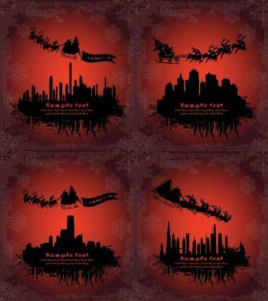 free vector Santa claus flying silhouette vector