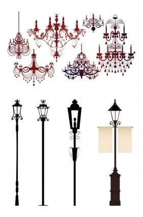Gorgeous chandelier lights silhouette vector