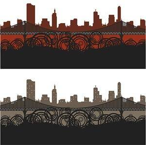 City silhouette trend element vector