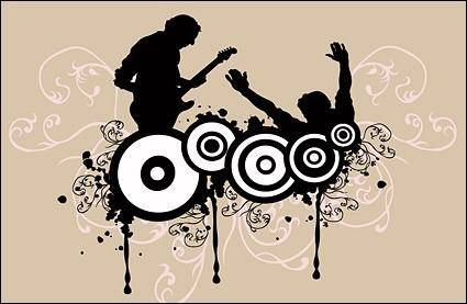Music enthusiasts silhouette vector