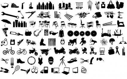 free vector Black and white design elements vector series 12 items silhouette