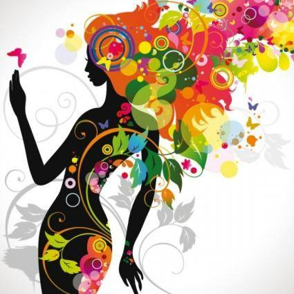 free vector Beautiful fashionable silhouette 01 vector