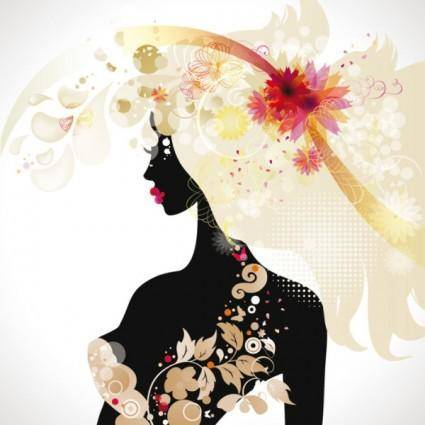 free vector Beautiful fashionable silhouette 03 vector