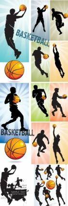Basketball silhouette character vector