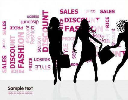 free vector Fashion Shopping Silhouettes Vector Illustration