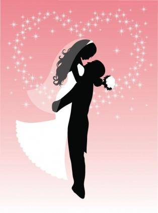Bride and Groom Silhouette Vector Graphic