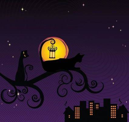 free vector Black Silhouette of Cat at Night Vector Illustration