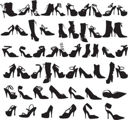Beauty Fashion Shoes Silhouettes Vector Graphic