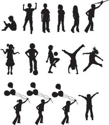 free vector Free Vector Children Silhouettes