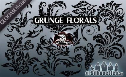 free vector Grunge Floral Shapes