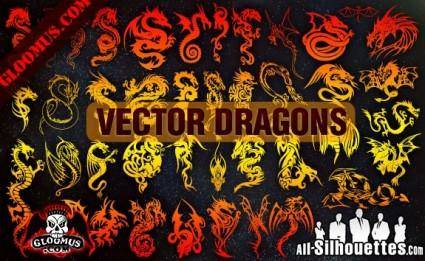 free vector Vector Dragons