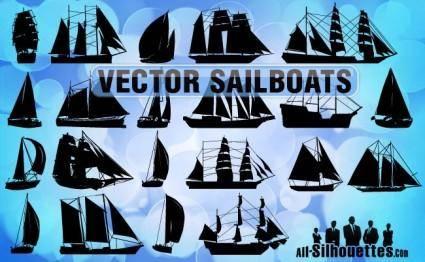 free vector Free Vector Sailboats