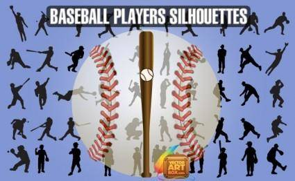free vector Baseball Players Silhouettes