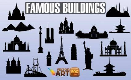 free vector Famous Buildings Silhouettes