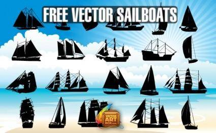 Vector Sailboats Silhouettes