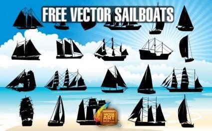 Vector Sailboats Silhouettes