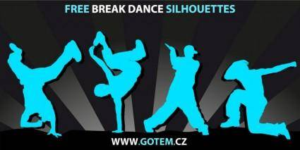 free vector Breakdance Silhouettes