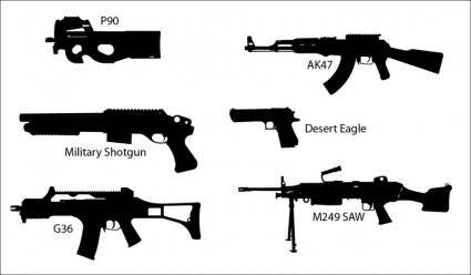 free vector Gun Silhouettes