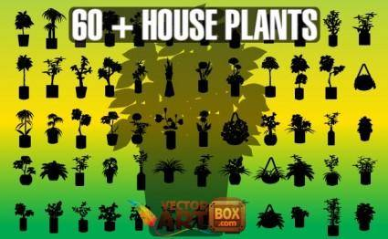 free vector House Plants Silhouettes