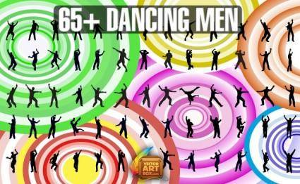 free vector Dancing Men Silhouettes
